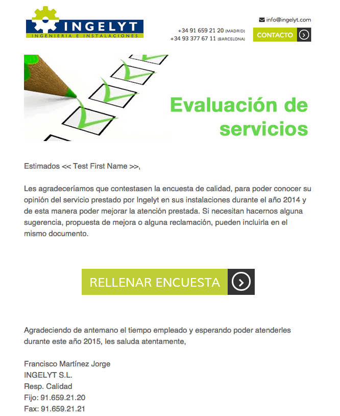 newsletter encuesta de satisfaccion